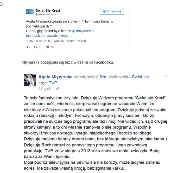 Wpis Agaty Młynarskiej /Facebook