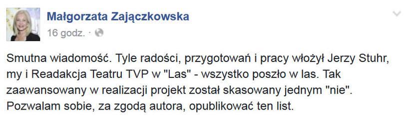 Wpis aktorki Małgorzaty Zajączkowskiej /Facebook