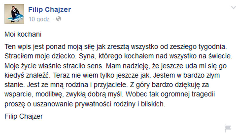 Wpis Filipa Chajzera na Facebooku /materiały prasowe