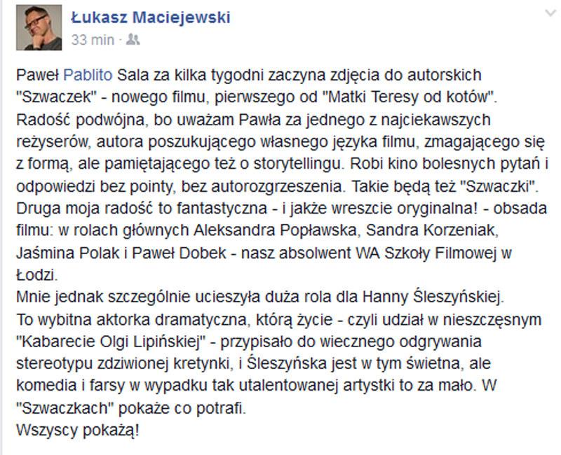 Wpis Łukasza Maciejewskiego na Facebooku anonsujący nowy film Pawła Sali /materiały prasowe