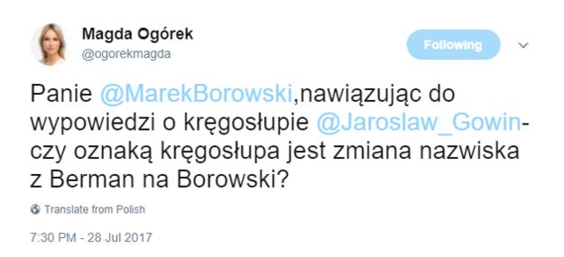 Wpis Magdaleny Ogórek /Twitter