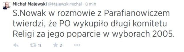 Wpis na Twitterze Michała Majewskiego /Twitter