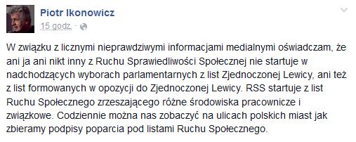 Wpis Piotra Ikonowicza /Facebook /