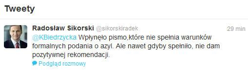 Wpis Radosława Sikorskiego na Twitterze /Twitter
