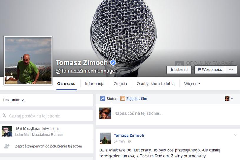 Wpis Tomasz Zimocha na Facebooku /Facebook