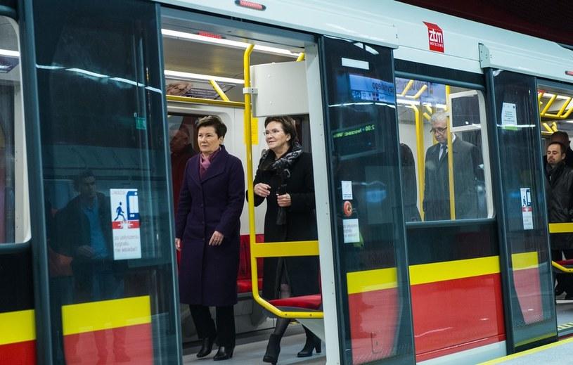 Wspólny przejazd premier Ewy Kopacz i prezydent Warszawy Hanny Gronkiewicz-Waltz II linią metra /Jacek Domiński /Reporter