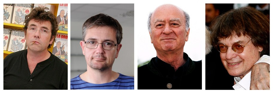 Wśród ofiar są rysownicy: Bernard Verlhac (Tignous), Stephane Charbonnier (Charb), Georges Wolinski i Jean Cabut (Cabu) //TIM SOMERSET/YOAN VALAT/GUILLAUME HORCAJUELO /PAP/EPA