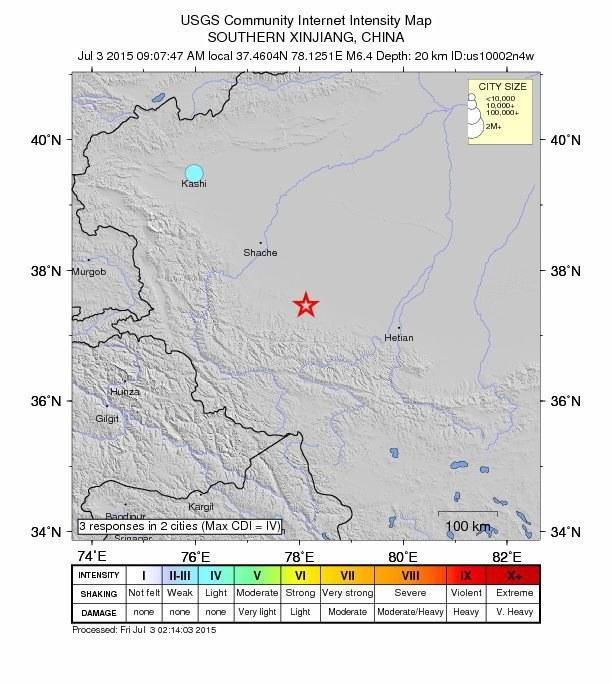 Wstrząsy zniszczyły lub poważnie uszkodziły kilka tysięcy domów w okręgu Pishan /USGS /PAP/EPA