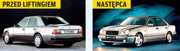 Wszystkie egzemplarze 500 E mają już tzw. szerokie listwy. Model W210 (po prawej) także doczekał się odmiany 5.0 V8, jako E50 AMG. /Motor