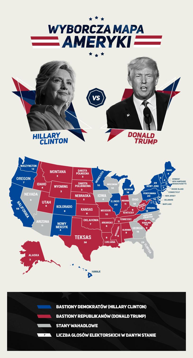 Wyborcza mapa Ameryki /INTERIA.PL