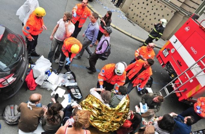 Wybuch w centrum Pragi. /PAP/EPA