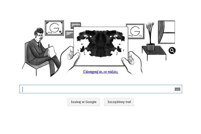 Wygenerowaną przez Google Doodle plamę można udostępnić znajomym w portalach społecznościowych /materiały prasowe