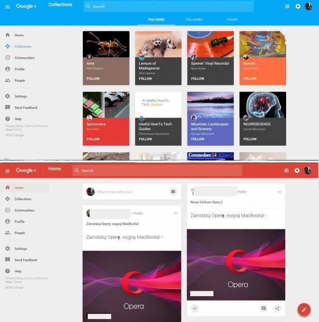 Wygląd nowej wersji Google+ /materiały prasowe