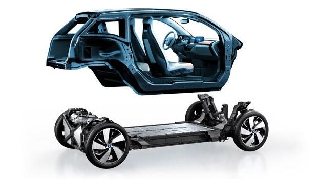 Wykonane z kompozytów wzmacnianych włóknami węglowymi (CFRP) nadwozie BMW i3. CFRP jest dwukrotnie sztywniejsze od stali i o połowę od niej lżejsze. /BMW