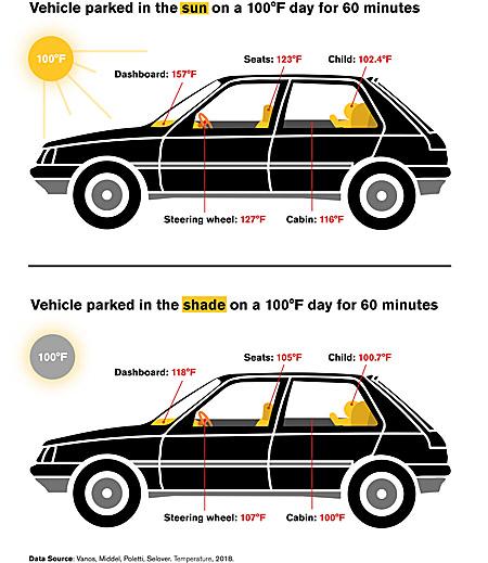 Wyniki badań temperatury we wnetrzu samochodu pozostawionego w upalny dzień w słońcu lub w cieniu /Arizona State University /Materiały prasowe