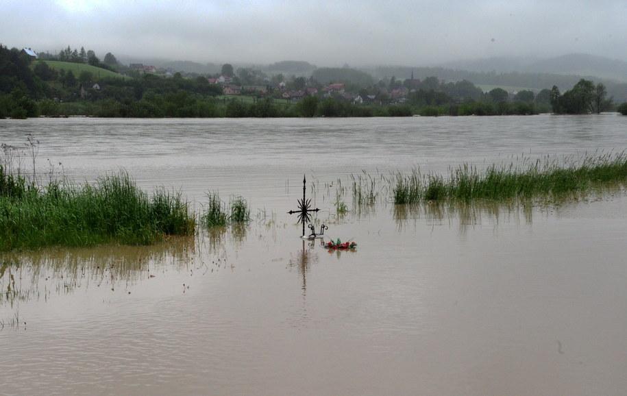 Wysoki stan wody w Dunajcu we wsi Witowice k. Nowego Sącza /Grzegorz Momot /PAP
