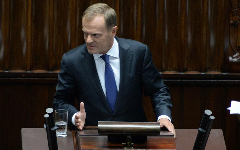 Wystąpienie premiera Donalda Tuska podczas posiedzenia Sejmu. /Jacek Turczyk /PAP