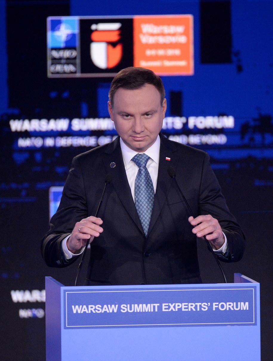 Wystąpienie prezydenta Andrzeja Dudy podczas otwarcia forum ekspertów /Bartłomiej Zborowski /PAP