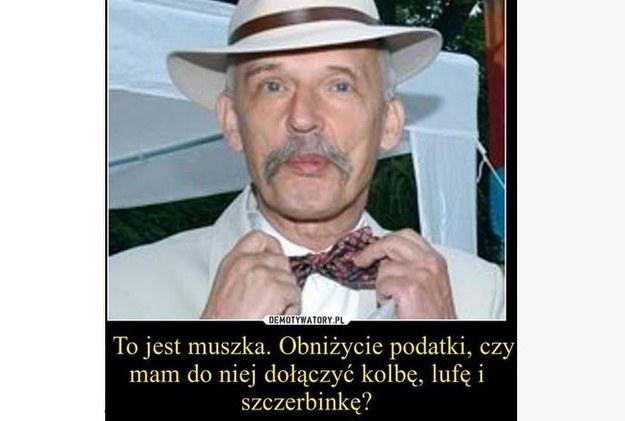 """""""Wystrzałowa"""" propozycja Janusza Korwin-Mikkego /Demotywatory.pl /Facebook"""