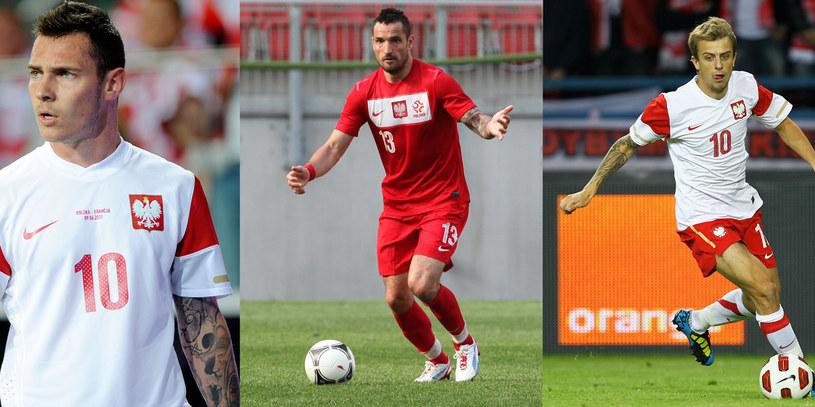 Wytatuowani piłkarze są bardzo męscy. Na zdj: Ludovic Obraniak, Marcin Wasilewski i Kamil Grosicki /Jacek Kunikowski /AKPA