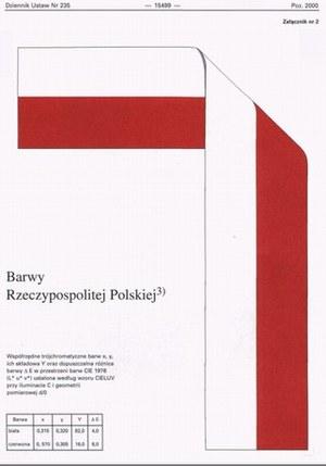 Wzór flagi państwowej Polski ogłoszony w Dzienniku Ustaw RP / Kliknij /