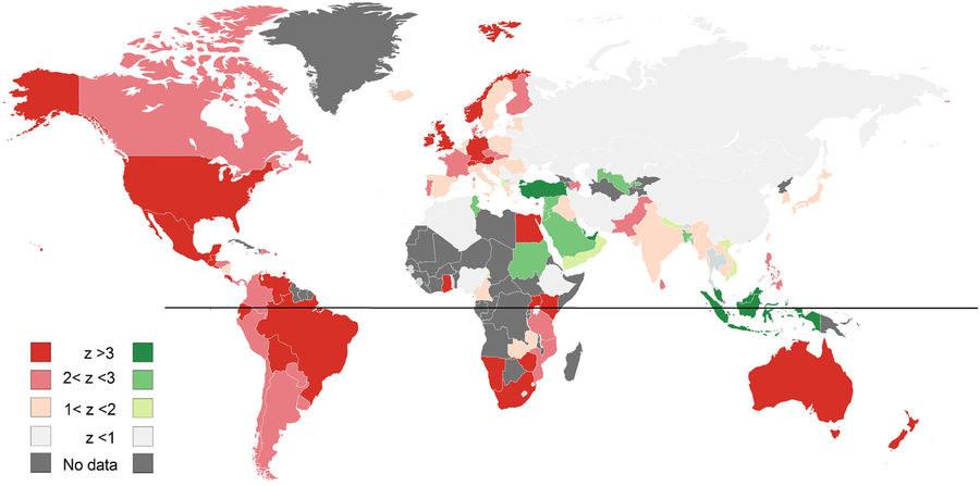 Wzrost liczby wyszukiwań seksu w okresie Bożego Narodzenia (czerwony) i Święta Przerwania Postu (zielony). Im silniejszy wzrost, tym bardziej nasycony kolor /Scientific Reports /Materiały prasowe