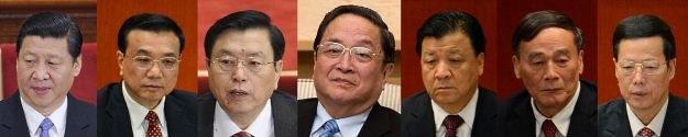 Xi Jinping, Li Keqiang, Zhang Dejiang, Yu Zhengsheng, Liu Yunshan, Wang Qishan i Zhang Gaoli /AFP