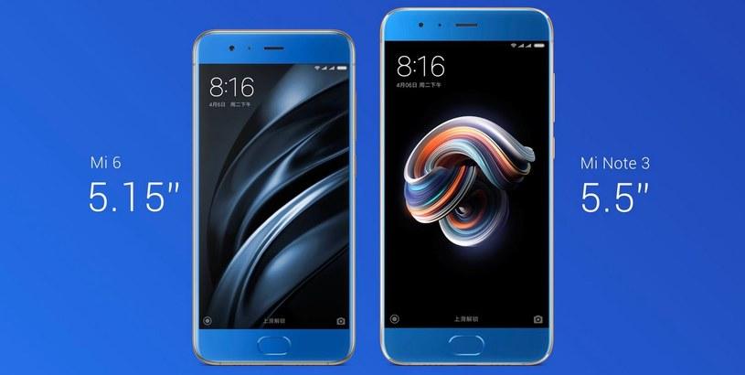 Xiaomi Mi 6 i Xiaomi Mi Note 3 (po prawej) /materiały prasowe