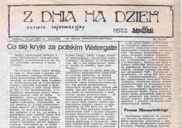 """Z Dnia na Dzień"", rok 1981, nr 147, strona 1 (źródło: Encyklopedia Solidarności) /INTERIA.PL"