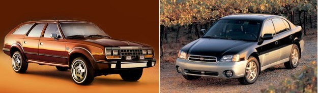 Z lewej: AMC Eagle (1979), z prawej: Outback w wersji sedan (2001). /Motor