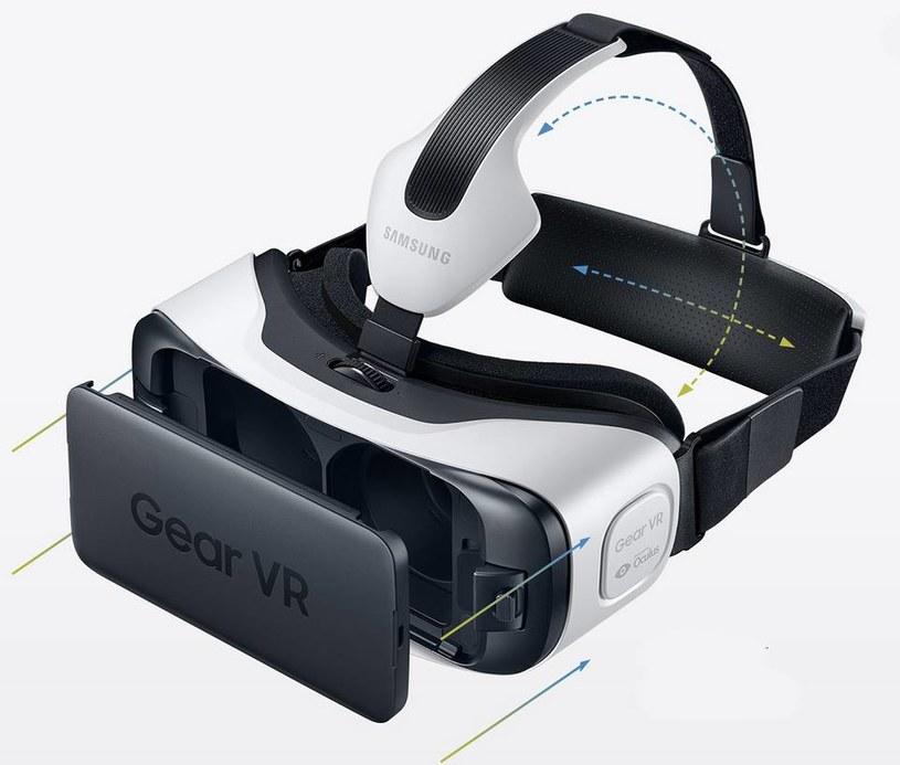 Z przodu, w miejscu wymiennej maski umieszczamy smartfon (S6, S6 Edge). Dzięki paskom dostosowujemy gogle do rozmiarów naszej głowy. Za zmianę poziomu ostrości odpowiada pokrętło /materiały prasowe