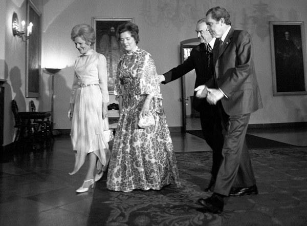 Prezydent USA, 1972, przyjęcie w pałacu namiestnikowskim, Richard Nixon i Piotr Jaroszewicz z żonami