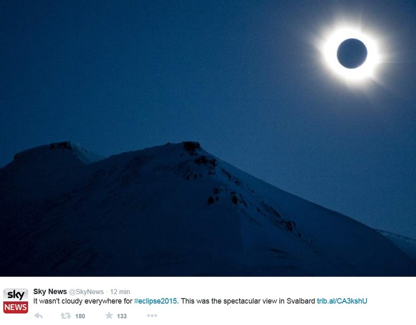 Zaćmienie Słońca nad archipelagiem Svalbard /Twitter