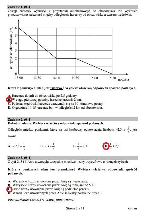 Zadania 1-3, Egzamin gimnazjalny 2016 – matematyka /