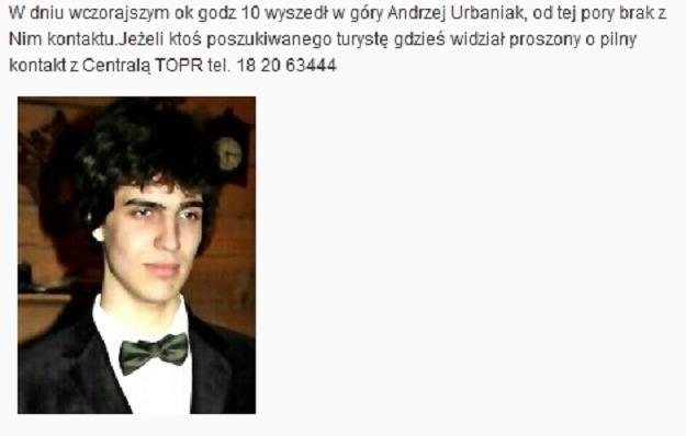 Zaginiony 17-latek. Zdjęcie ze strony internetowej TOPR /