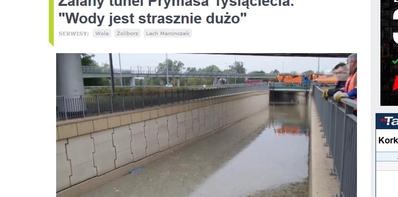 Zalany tunel na węźle Prymasa Tysiąclecia /http://tvnwarszawa.tvn24.pl /