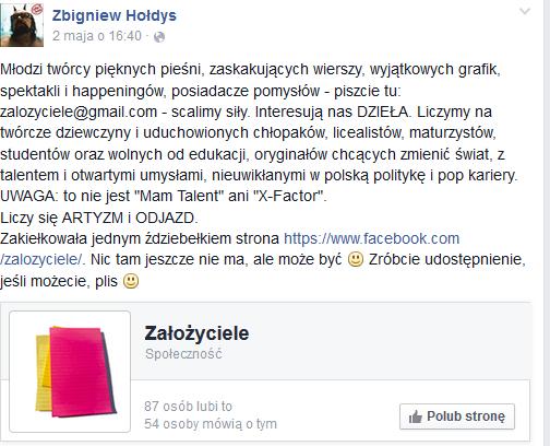 Zbigniew Hołdys na Facebooku /