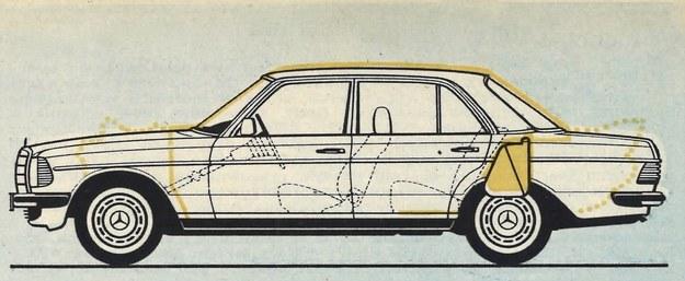Zbiornik paliwa znajduje się w strefie bezpiecznej nie dotkniętej zgniotem przy najeździe od tylu. /Mercedes