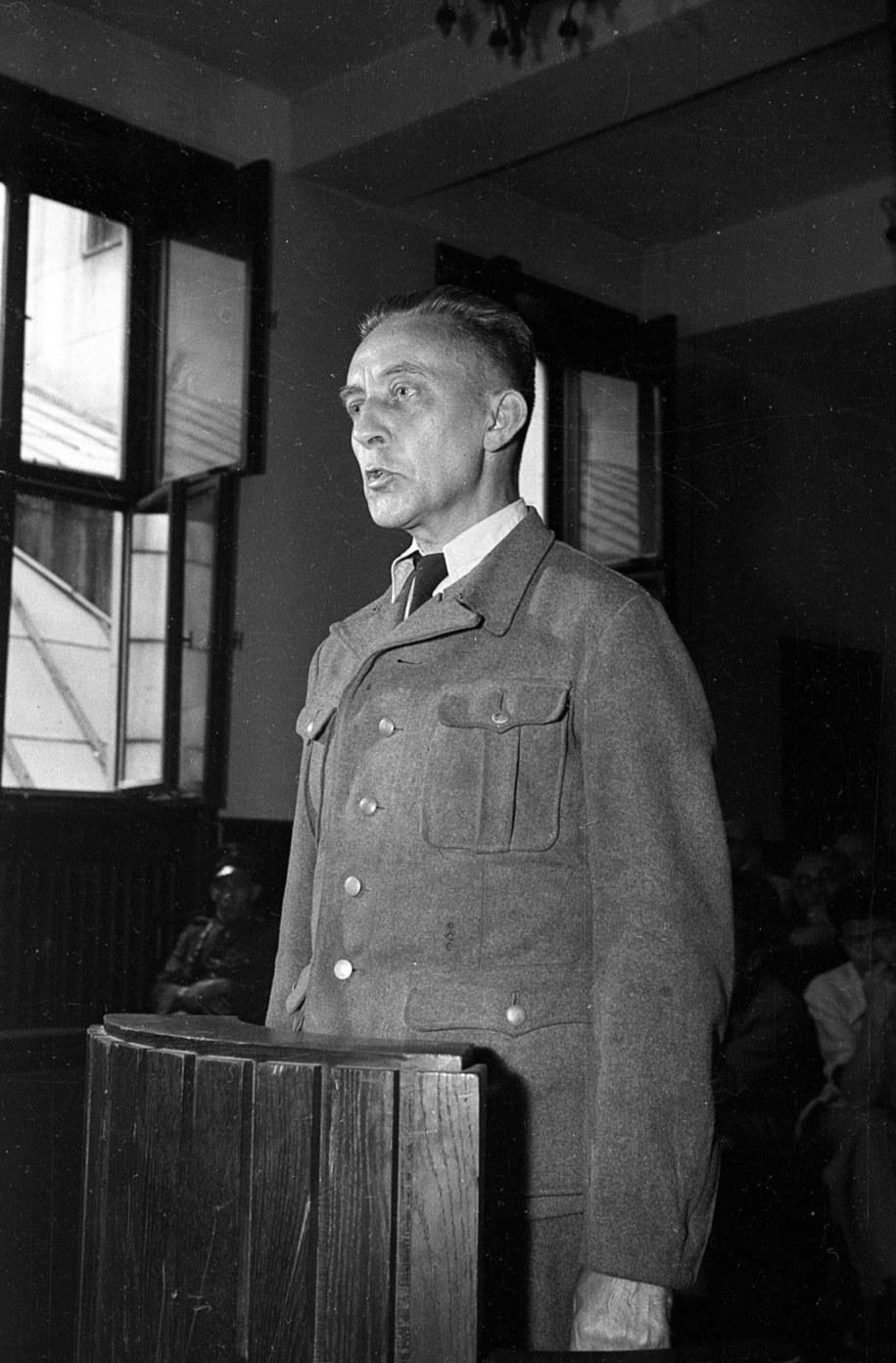 Zbrodniarz hitlerowski, likwidator warszawskiego getta, gen. SS Jürgen Stroop przed sądem /Stanisław Dąbrowiecki/CAF /PAP