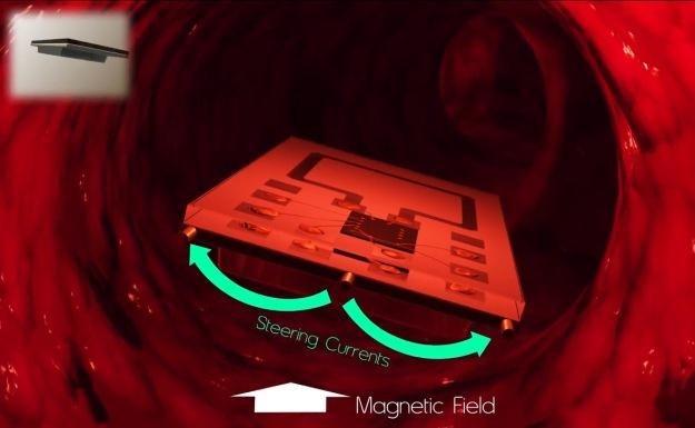 Zdalnie zasilany implant przemieszcza się w świetle naczynia krwionośnego.  Fot. Carlos Suarez /materiały prasowe
