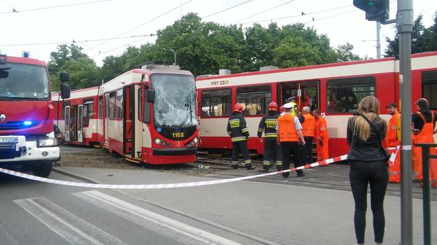 Zderzenie tramwajów w Gdańsku /Twitter/ Maciej Bąk /