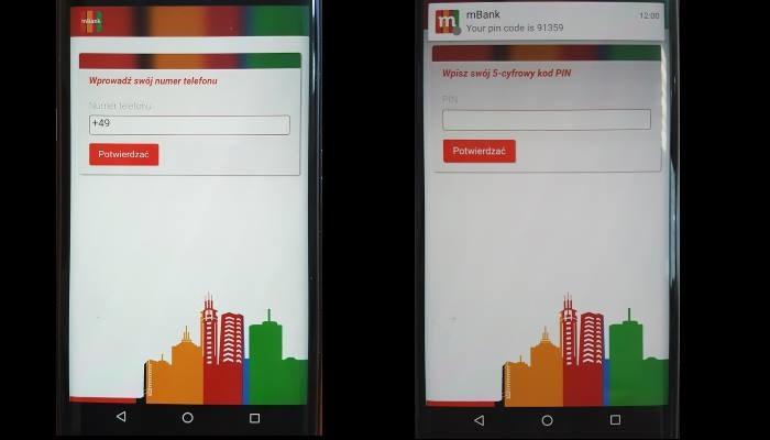 Zdjęcia fałszywej aplikacji wyłudzającej dane od klientów mBanku /materiały prasowe