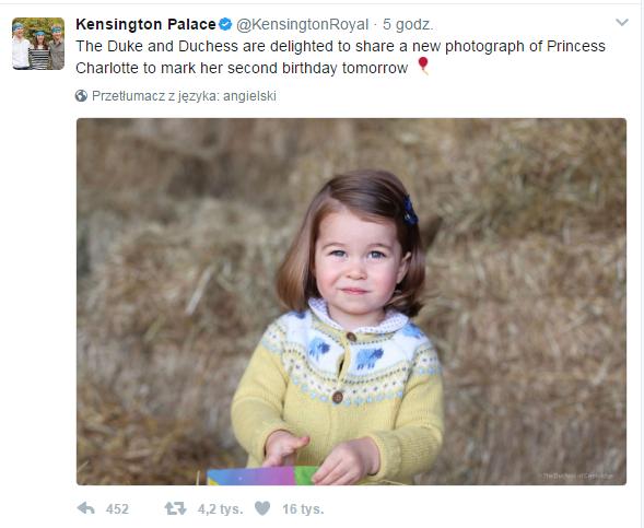 Zdjęcie księżniczki Charlotte opublikowane przez Pałac Kensington /Kensington Palace /Twitter