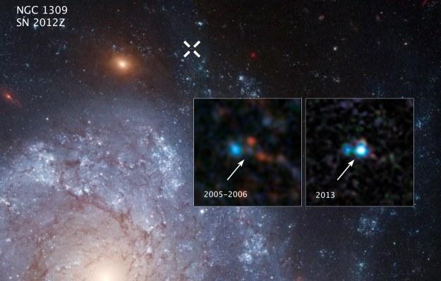 Zdjęcie przed i po wybuchu wykonane przez Kosmiczy Teleskop Hubble'a /NASA