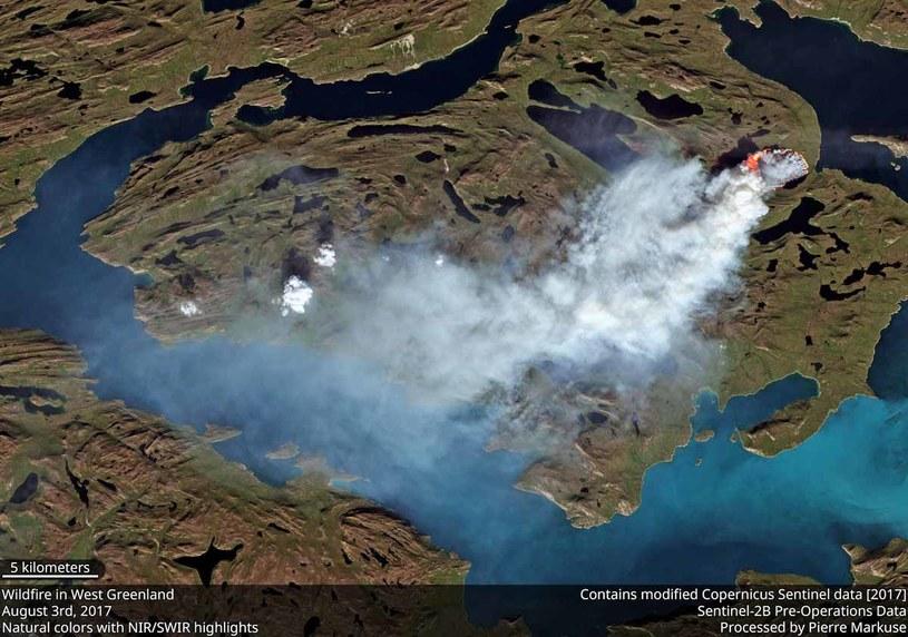 Zdjęcie satelitarne ognia na Grenlandii wykonane 3 sierpnia 2017 przez Sentinel-2A programu Copernicus /materiały prasowe