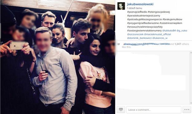 Zdjęcie z imprezy, które wrzucił na swój profil na Instagramie Jakub Wesołowski. /Agencja W. Impact