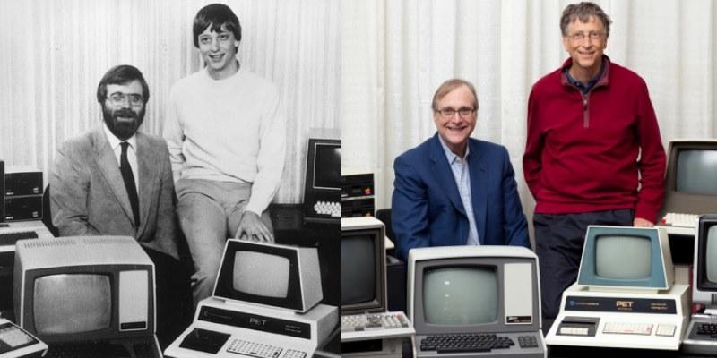 Zdjęcie z roku 1981 oraz Paul Allen i Bill Gates w 2013 roku /materiały prasowe