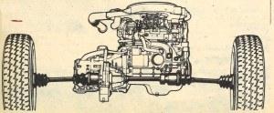 Zespół napędowy osadzony jest poprzecznie przed osią kół przednich, prawa półoś podzielona jest na dwie części sprzęgnięte przegubem. /Motor