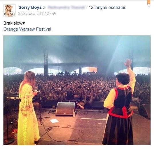 Zespół Sorry Boys i Apolonia Nowak podczas OWF 2016 /