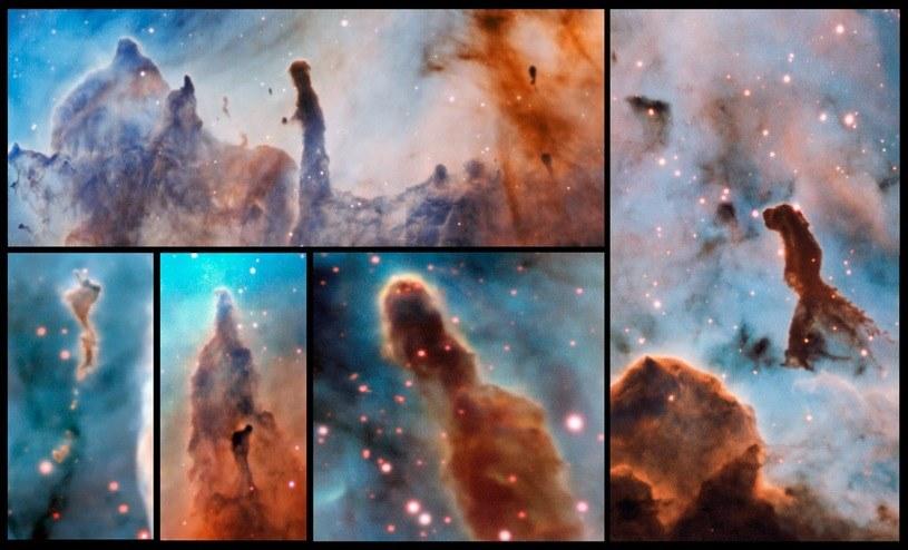 Zestaw zdjęć kolumn gazu i pyłu, obserwowanych w obrębie Mgławicy Carina /materiały prasowe